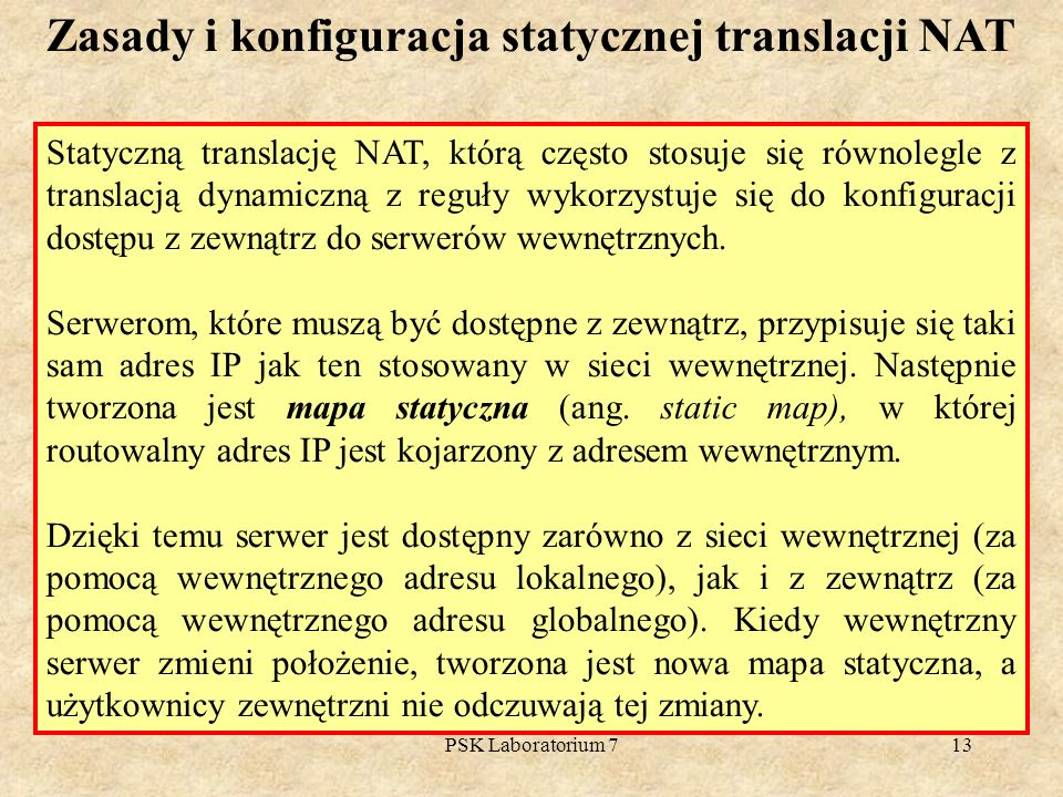 Zasady i konfiguracja statycznej translacji NAT