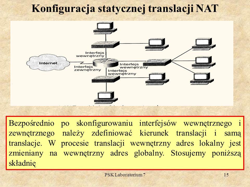 Konfiguracja statycznej translacji NAT