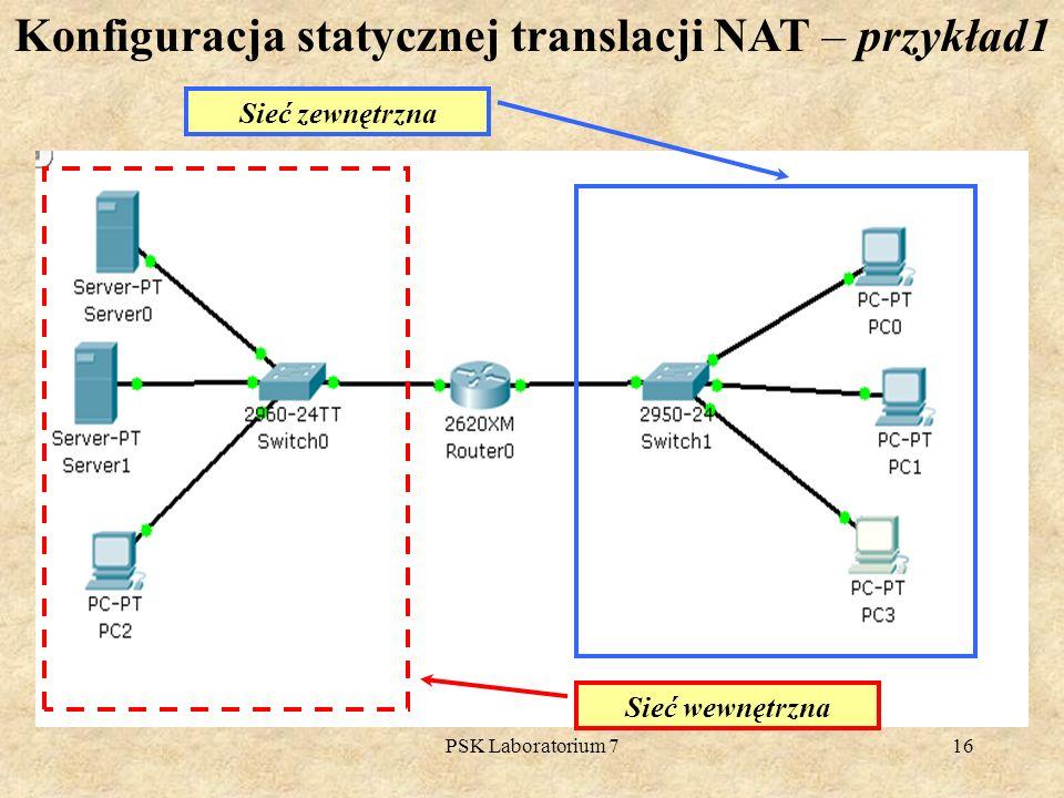 Konfiguracja statycznej translacji NAT – przykład1
