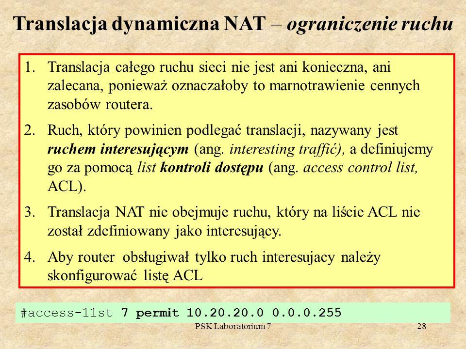 Translacja dynamiczna NAT – ograniczenie ruchu