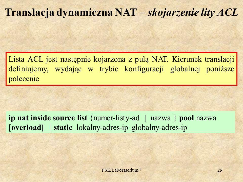 Translacja dynamiczna NAT – skojarzenie lity ACL