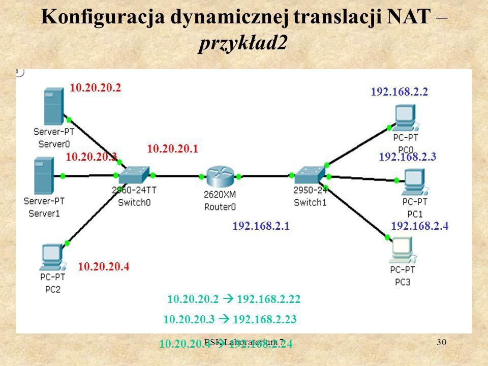 Konfiguracja dynamicznej translacji NAT – przykład2