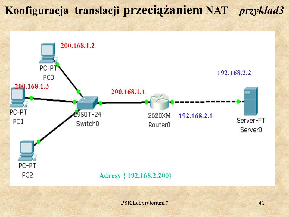 Konfiguracja translacji przeciążaniem NAT – przykład3