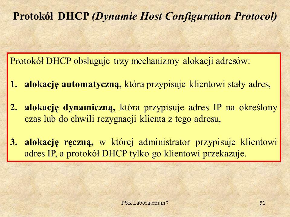 Protokół DHCP (Dynamie Host Configuration Protocol)