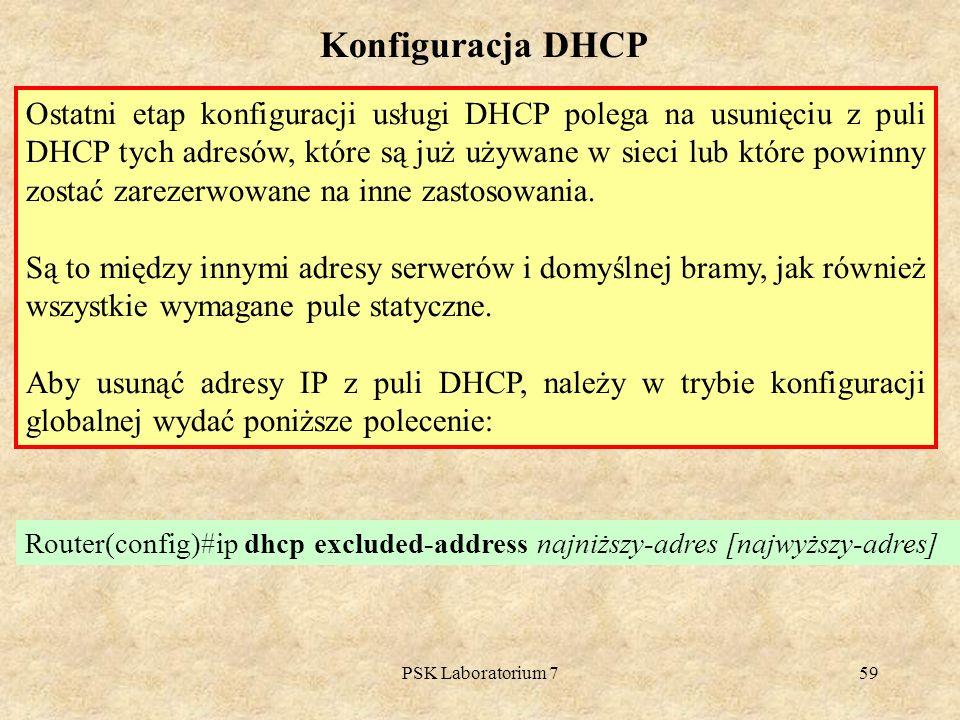 Konfiguracja DHCP