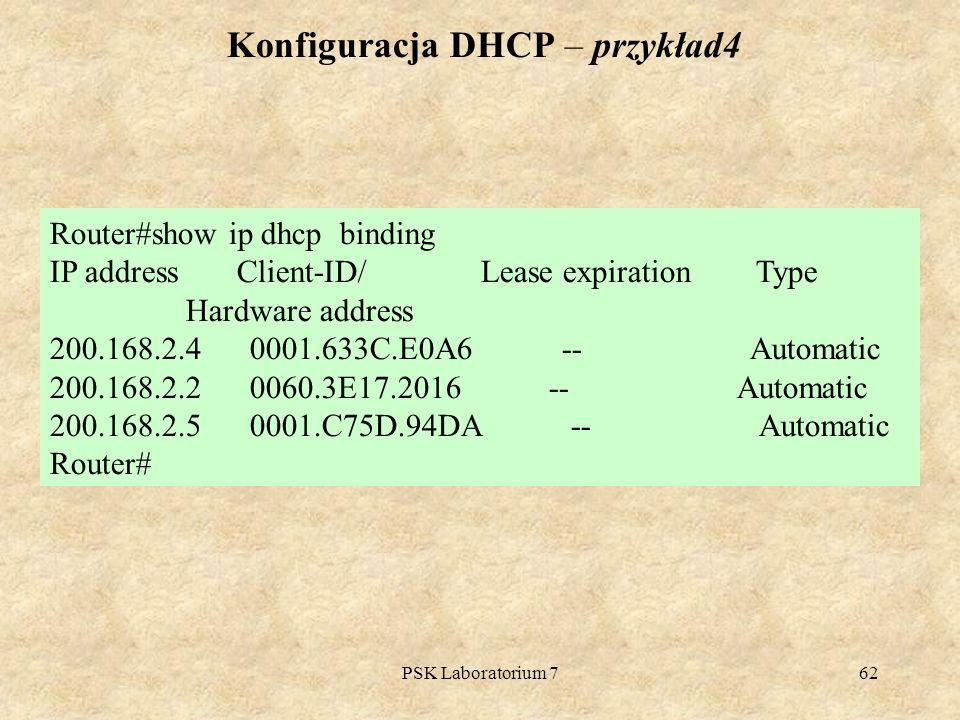 Konfiguracja DHCP – przykład4