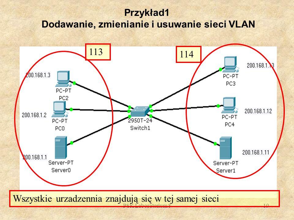 Przykład1 Dodawanie, zmienianie i usuwanie sieci VLAN