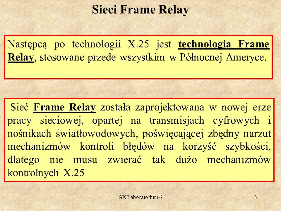 Sieci Frame Relay Następcą po technologii X.25 jest technologia Frame Relay, stosowane przede wszystkim w Północnej Ameryce.