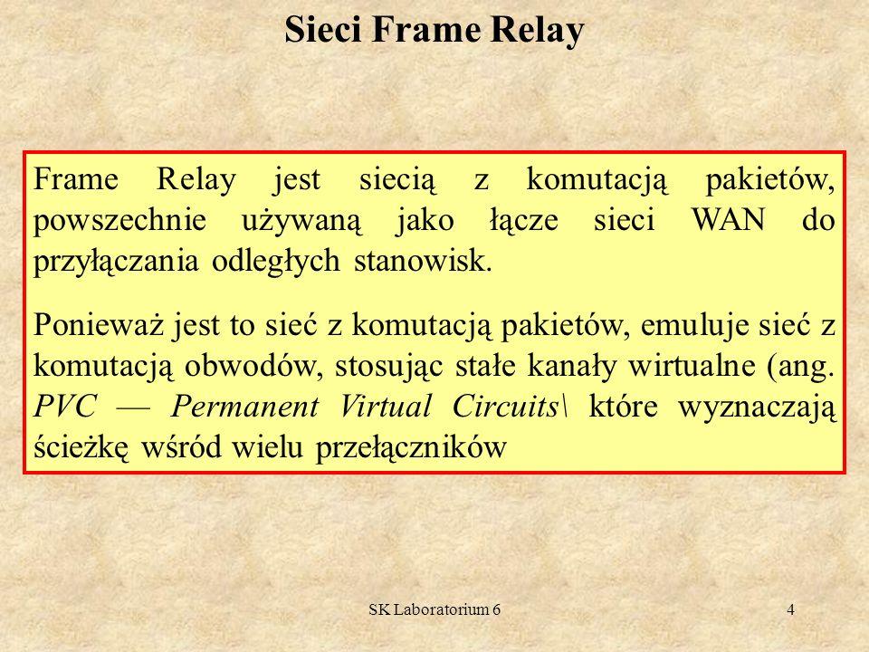 Sieci Frame Relay Frame Relay jest siecią z komutacją pakietów, powszechnie używaną jako łącze sieci WAN do przyłączania odległych stanowisk.