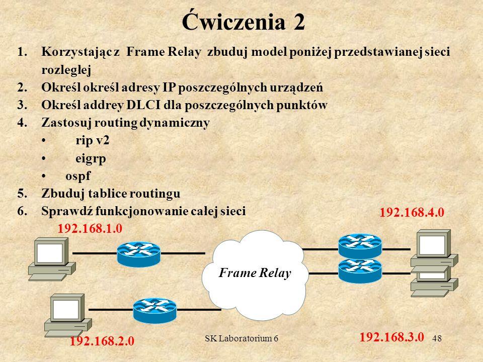 Ćwiczenia 2 Korzystając z Frame Relay zbuduj model poniżej przedstawianej sieci rozległej. Określ określ adresy IP poszczególnych urządzeń.