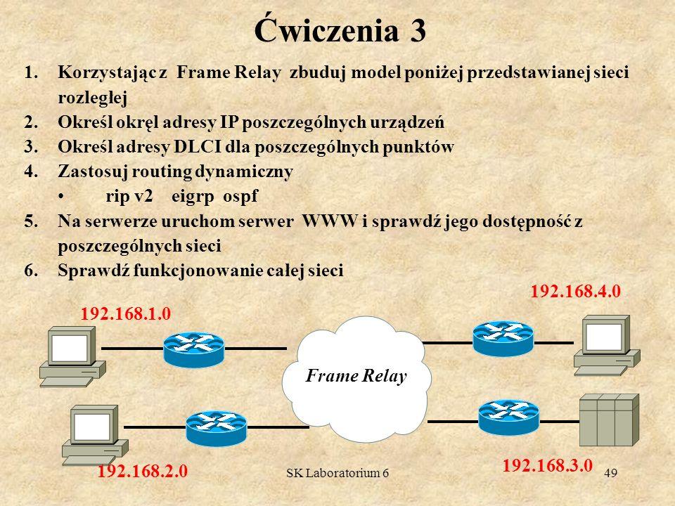 Ćwiczenia 3 Korzystając z Frame Relay zbuduj model poniżej przedstawianej sieci rozległej. Określ okręl adresy IP poszczególnych urządzeń.