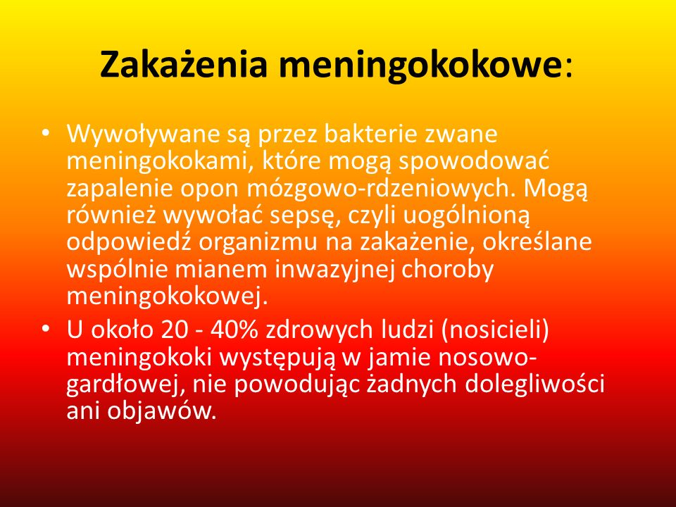 Zakażenia meningokokowe: