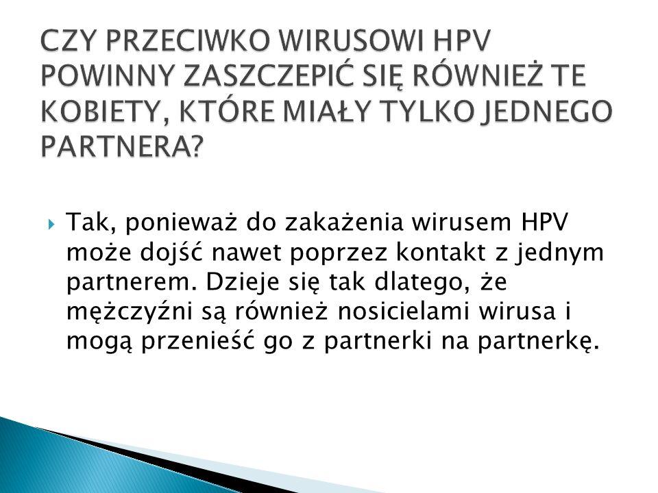 CZY PRZECIWKO WIRUSOWI HPV POWINNY ZASZCZEPIĆ SIĘ RÓWNIEŻ TE KOBIETY, KTÓRE MIAŁY TYLKO JEDNEGO PARTNERA