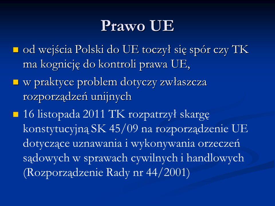 Prawo UE od wejścia Polski do UE toczył się spór czy TK ma kognicję do kontroli prawa UE, w praktyce problem dotyczy zwłaszcza rozporządzeń unijnych.