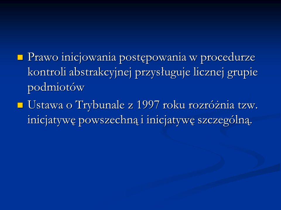 Prawo inicjowania postępowania w procedurze kontroli abstrakcyjnej przysługuje licznej grupie podmiotów