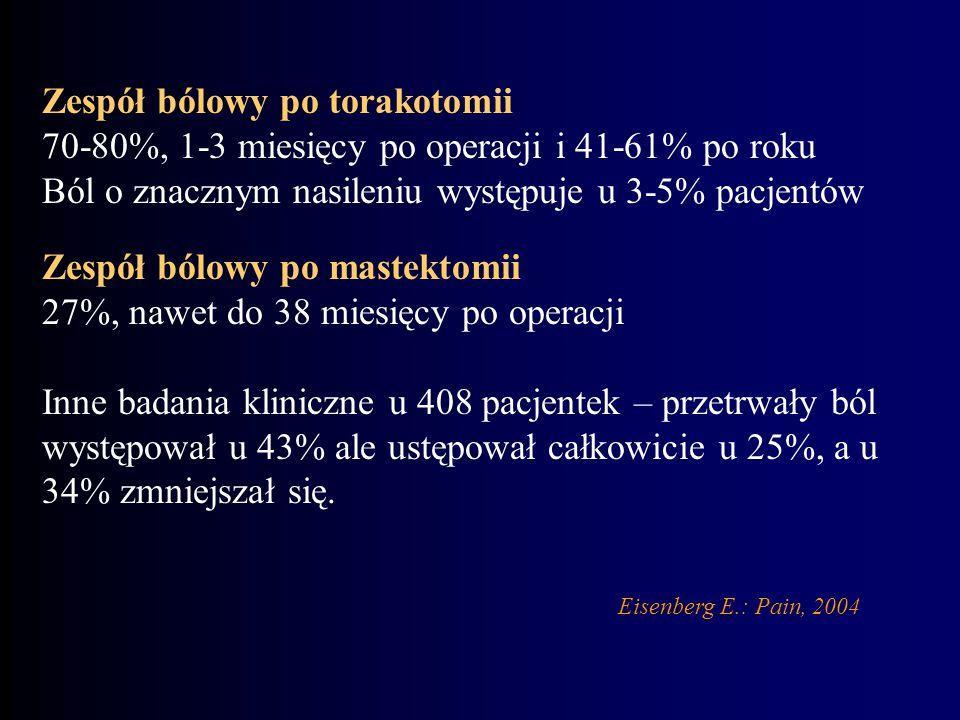 Eisenberg E.: Pain, 2004 Zespół bólowy po torakotomii