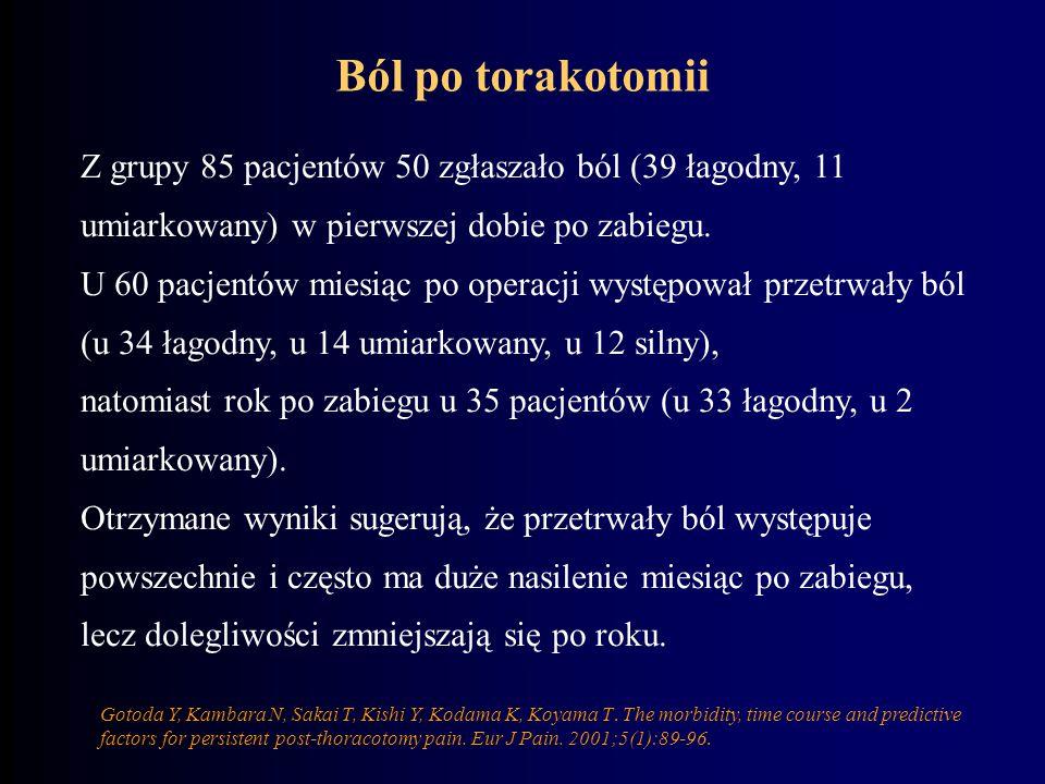 Ból po torakotomii Z grupy 85 pacjentów 50 zgłaszało ból (39 łagodny, 11 umiarkowany) w pierwszej dobie po zabiegu.