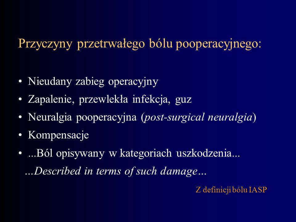 Przyczyny przetrwałego bólu pooperacyjnego: