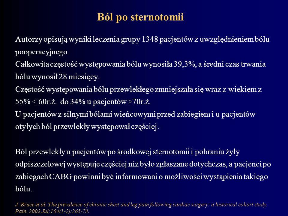 Ból po sternotomii Autorzy opisują wyniki leczenia grupy 1348 pacjentów z uwzględnieniem bólu pooperacyjnego.