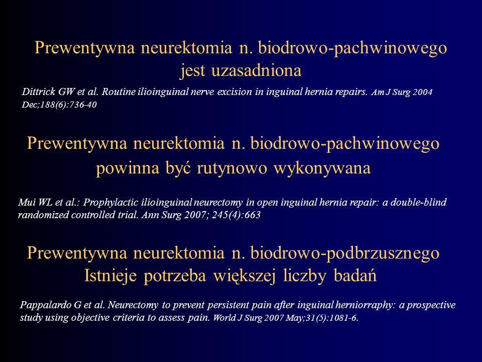 Prewentywna neurektomia n. biodrowo-pachwinowego jest uzasadniona