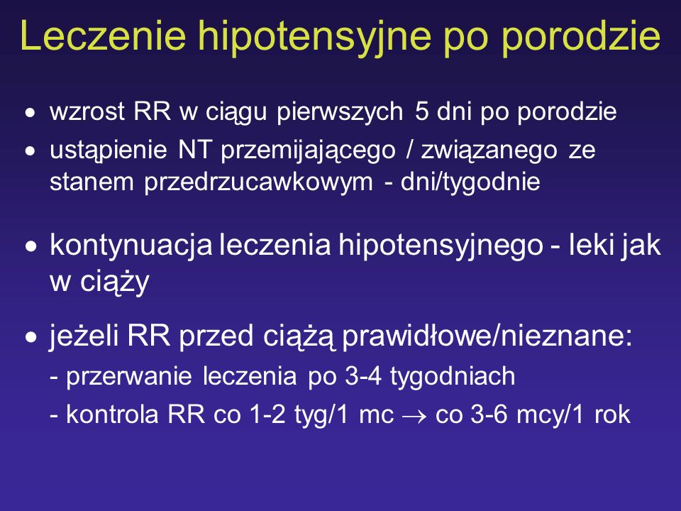 Leczenie hipotensyjne po porodzie