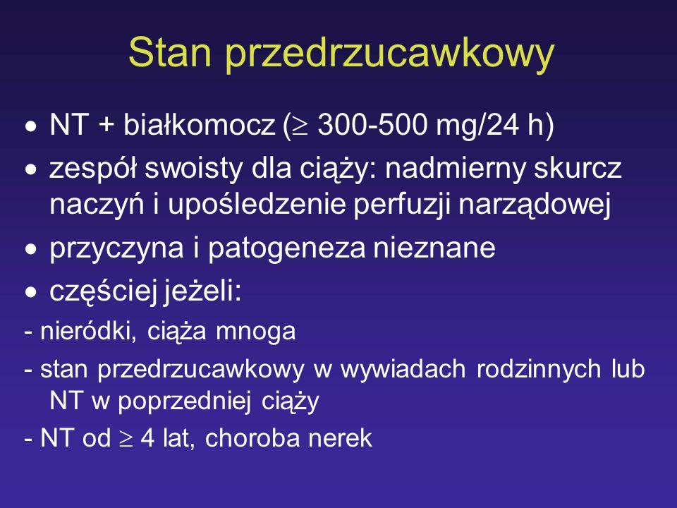 Stan przedrzucawkowy NT + białkomocz ( 300-500 mg/24 h)
