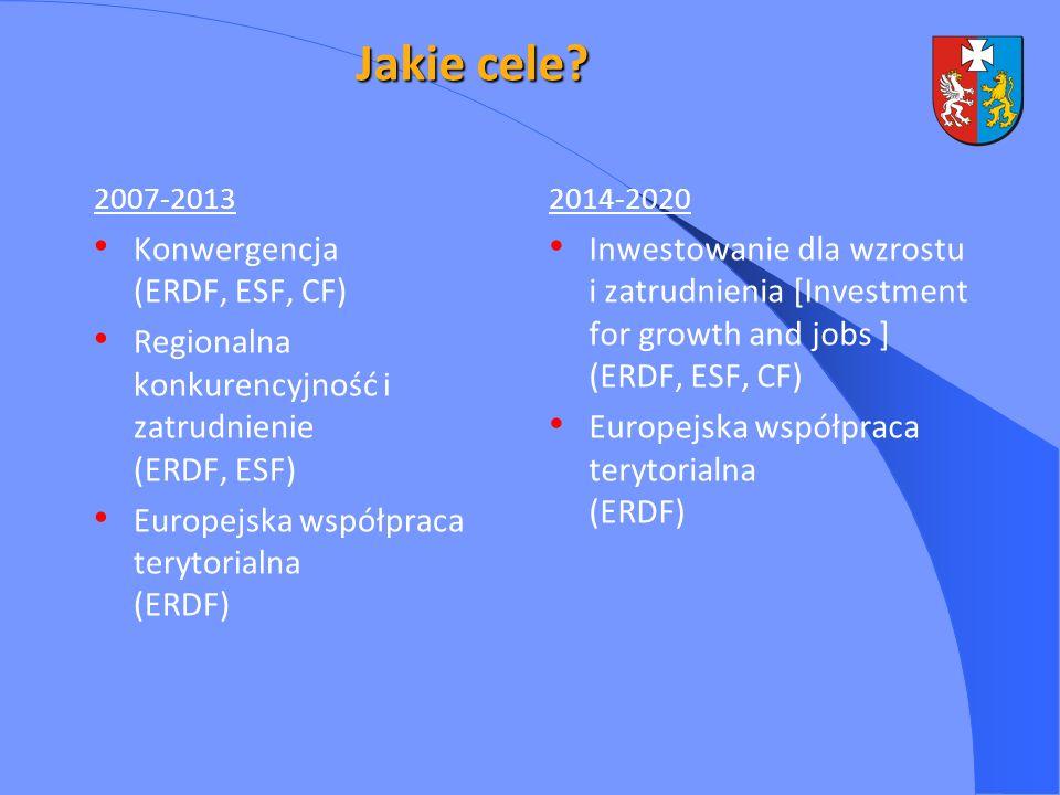 Jakie cele Konwergencja (ERDF, ESF, CF)