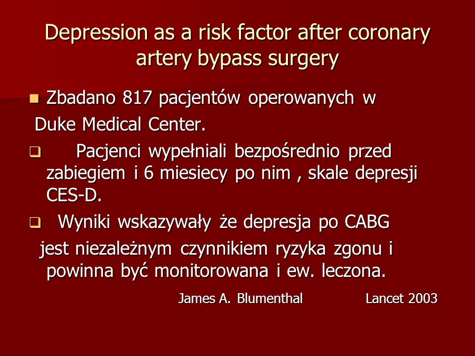 Depression as a risk factor after coronary artery bypass surgery