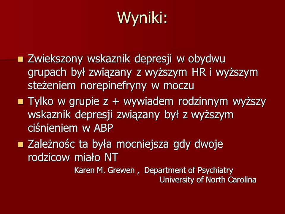 Wyniki: Zwiekszony wskaznik depresji w obydwu grupach był związany z wyższym HR i wyższym steżeniem norepinefryny w moczu.