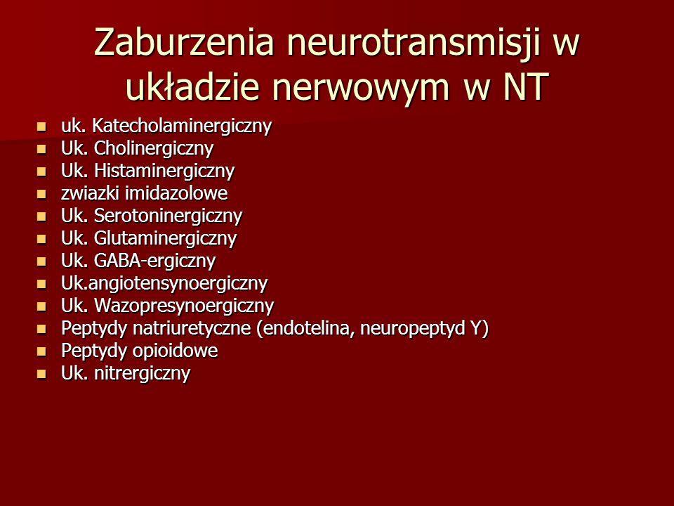 Zaburzenia neurotransmisji w układzie nerwowym w NT
