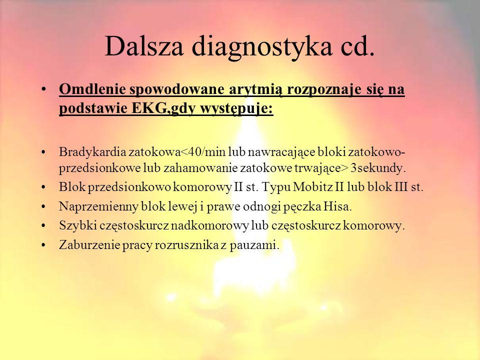 Dalsza diagnostyka cd. Omdlenie spowodowane arytmią rozpoznaje się na podstawie EKG,gdy występuje: