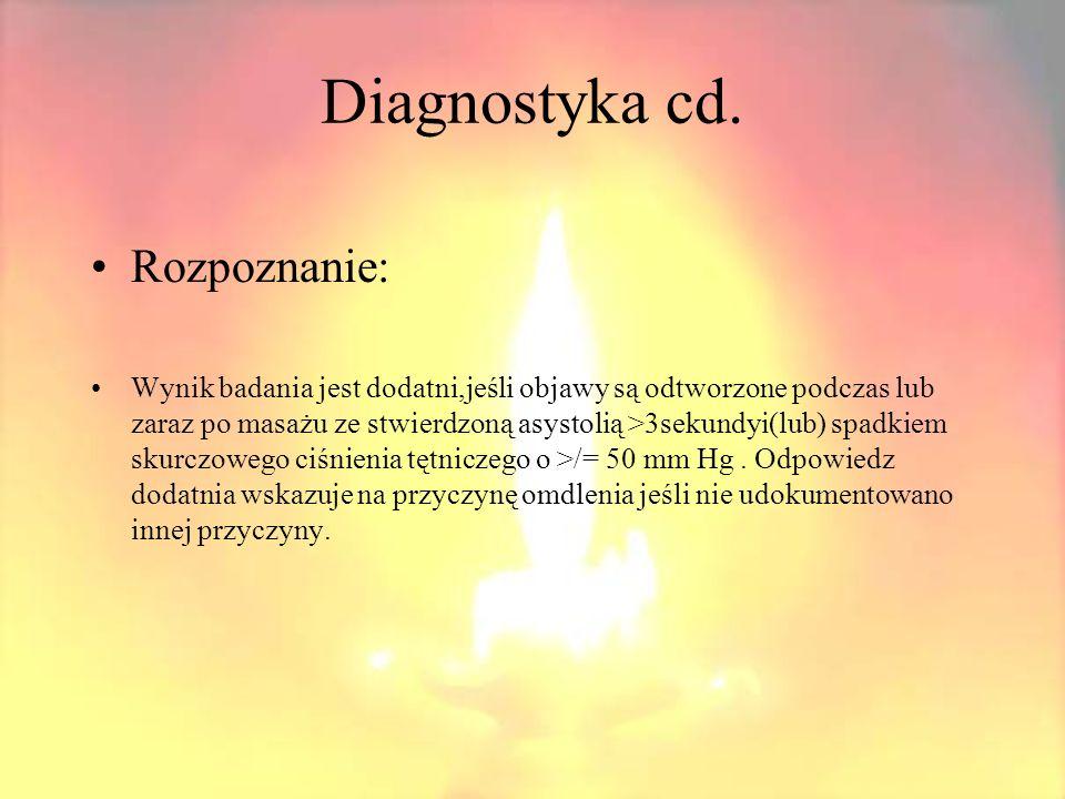 Diagnostyka cd. Rozpoznanie: