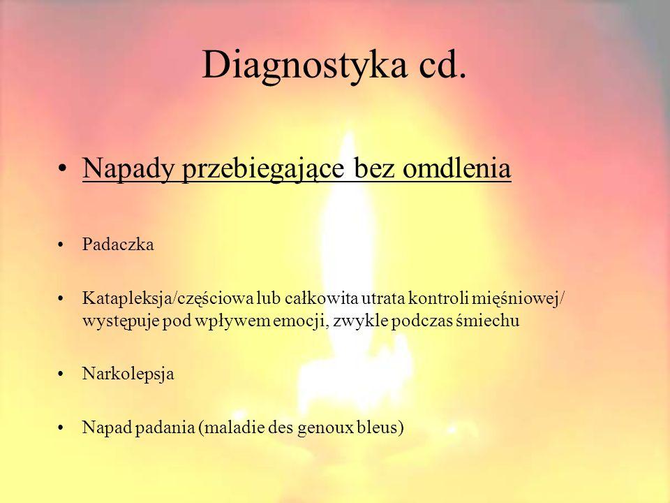 Diagnostyka cd. Napady przebiegające bez omdlenia Padaczka