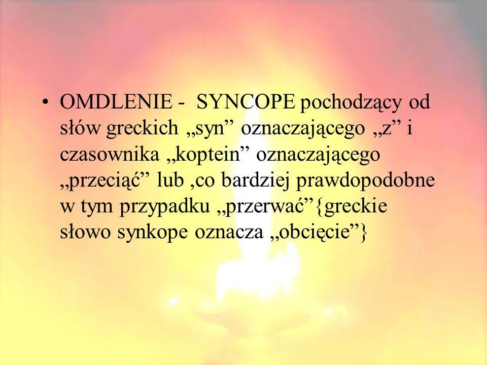 """OMDLENIE - SYNCOPE pochodzący od słów greckich """"syn oznaczającego """"z i czasownika """"koptein oznaczającego """"przeciąć lub ,co bardziej prawdopodobne w tym przypadku """"przerwać {greckie słowo synkope oznacza """"obcięcie }"""