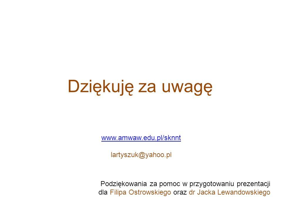Dziękuję za uwagę www.amwaw.edu.pl/sknnt lartyszuk@yahoo.pl