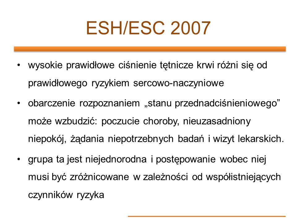 ESH/ESC 2007 wysokie prawidłowe ciśnienie tętnicze krwi różni się od prawidłowego ryzykiem sercowo-naczyniowe.