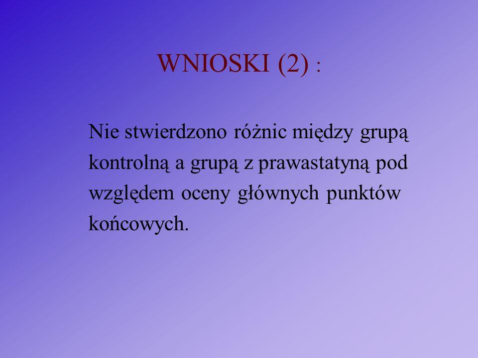 WNIOSKI (2) : Nie stwierdzono różnic między grupą