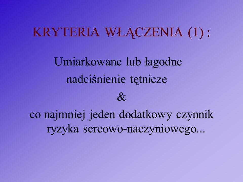 KRYTERIA WŁĄCZENIA (1) :