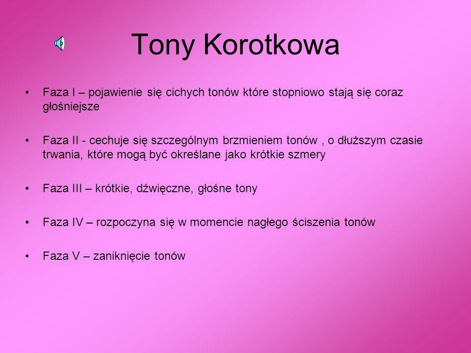 Tony Korotkowa Faza I – pojawienie się cichych tonów które stopniowo stają się coraz głośniejsze.