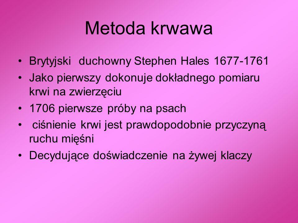 Metoda krwawa Brytyjski duchowny Stephen Hales 1677-1761