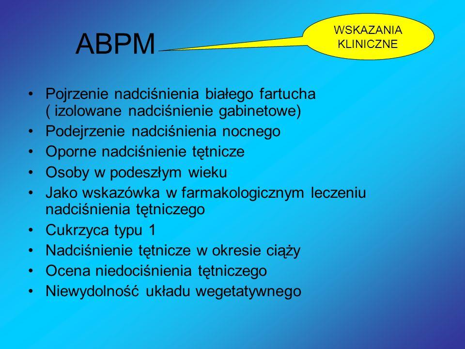 WSKAZANIA KLINICZNEABPM. Pojrzenie nadciśnienia białego fartucha ( izolowane nadciśnienie gabinetowe)