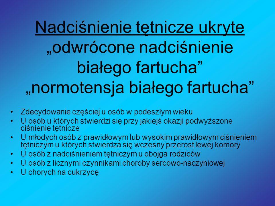 """Nadciśnienie tętnicze ukryte """"odwrócone nadciśnienie białego fartucha """"normotensja białego fartucha"""