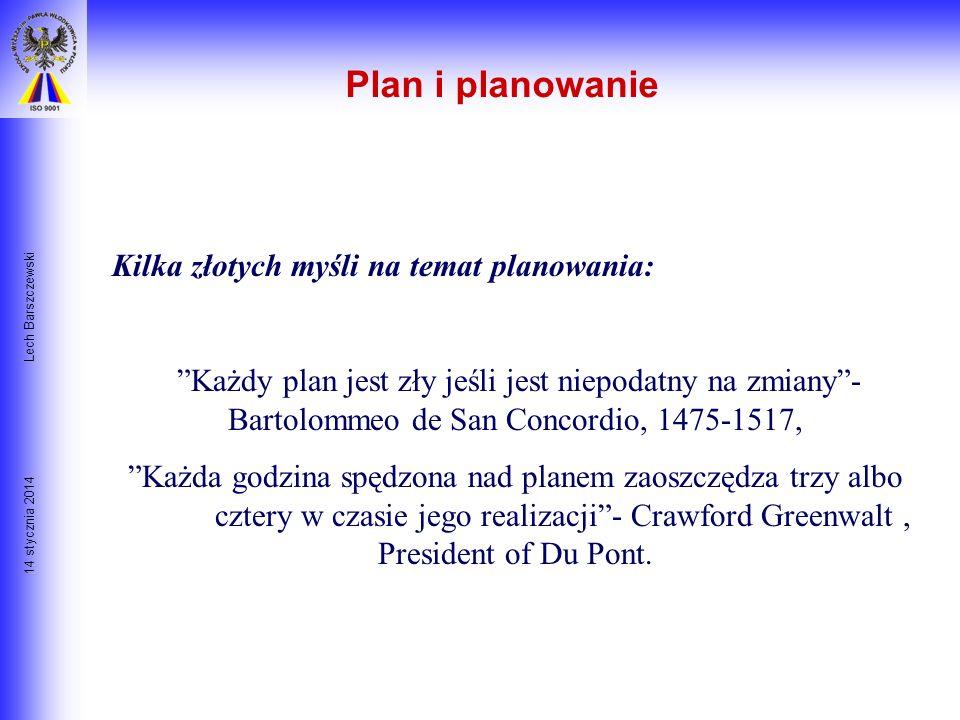 Plan i planowanie Kilka złotych myśli na temat planowania: