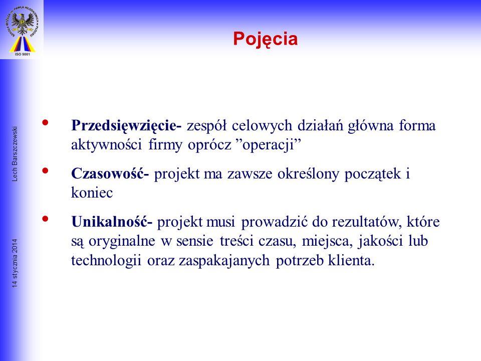 Pojęcia Lech Barszczewski. Przedsięwzięcie- zespół celowych działań główna forma aktywności firmy oprócz operacji