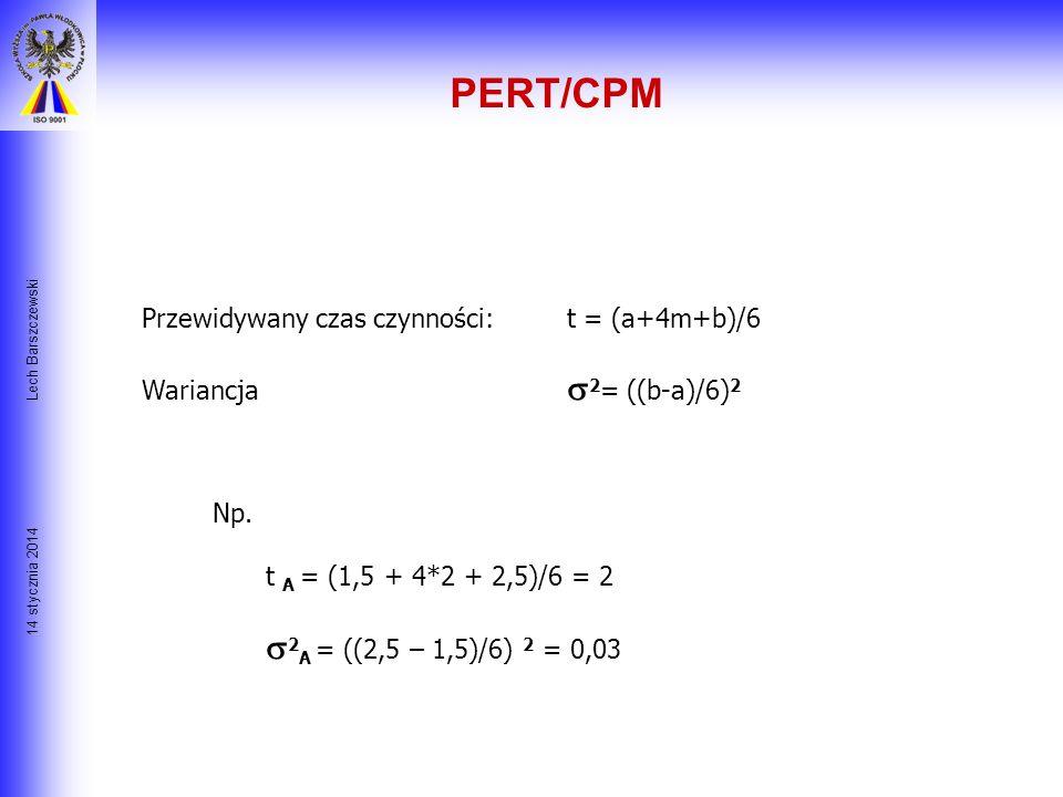 PERT/CPM Lech Barszczewski. Przewidywany czas czynności: t = (a+4m+b)/6. Wariancja 2= ((b-a)/6)2.