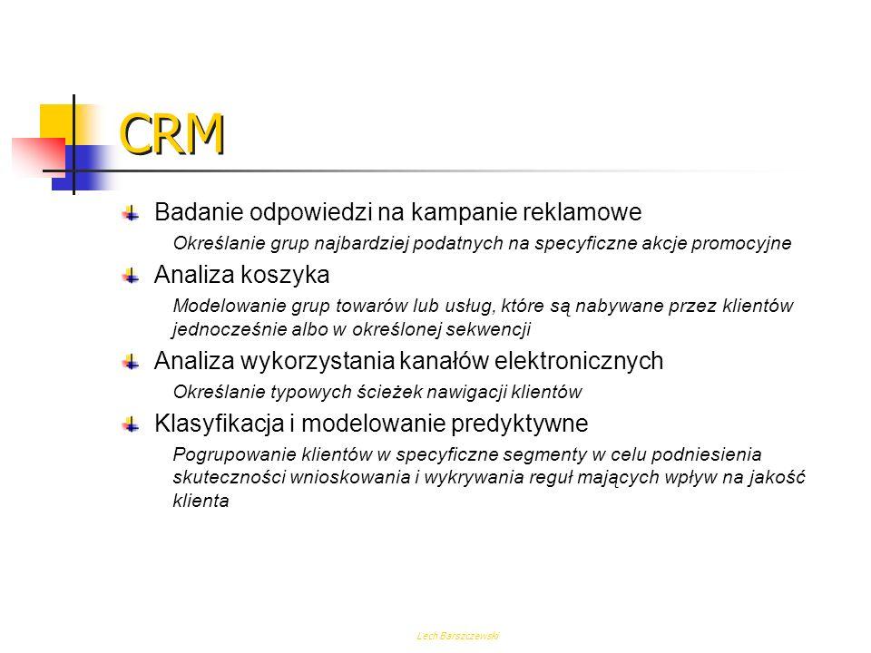 CRM Badanie odpowiedzi na kampanie reklamowe Analiza koszyka