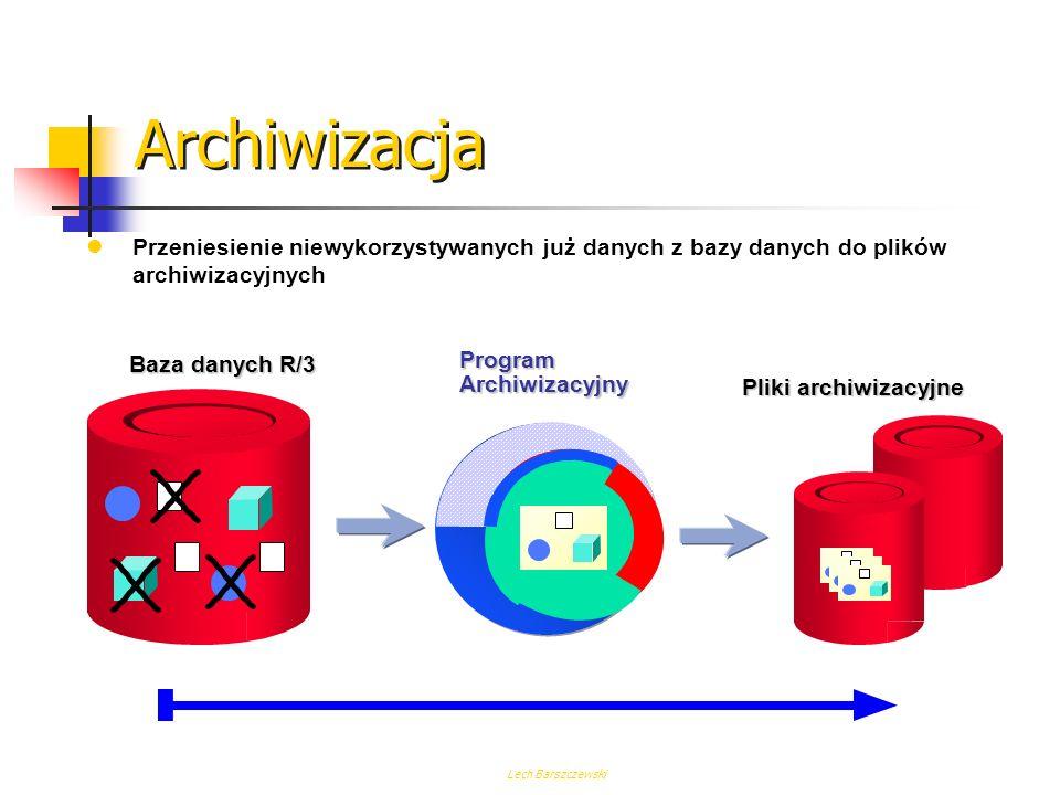 ArchiwizacjaPrzeniesienie niewykorzystywanych już danych z bazy danych do plików archiwizacyjnych. Baza danych R/3.