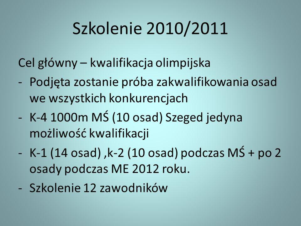 Szkolenie 2010/2011 Cel główny – kwalifikacja olimpijska