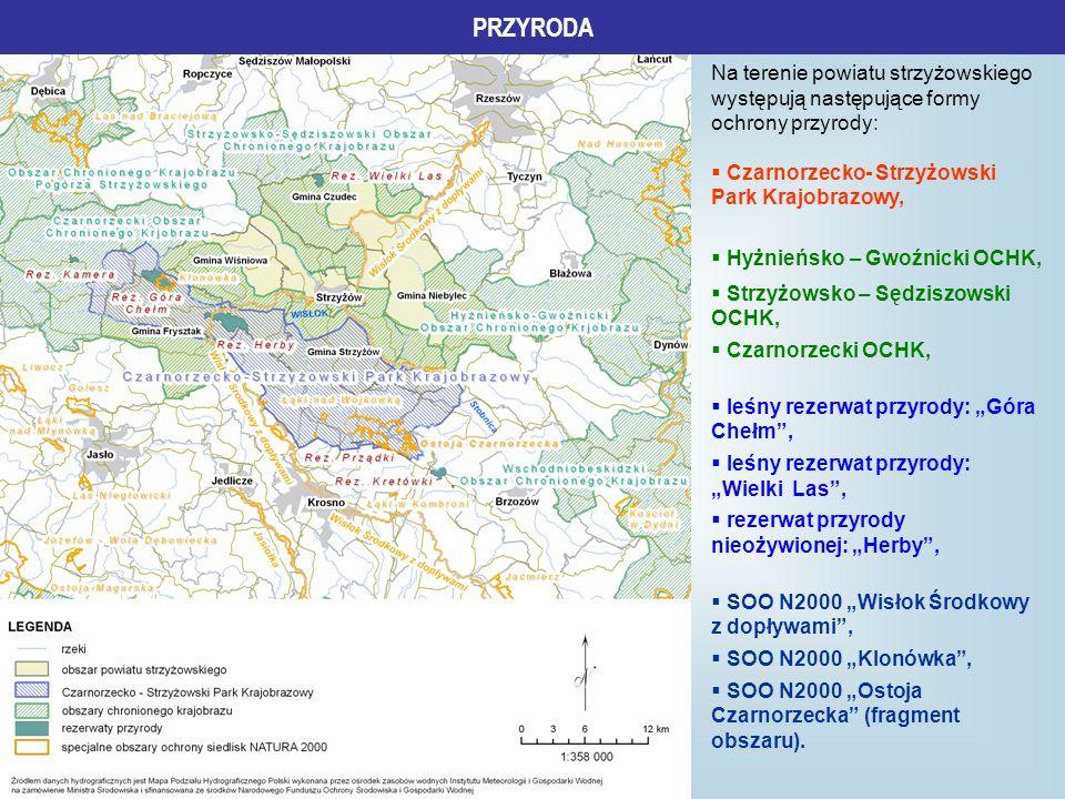 PRZYRODA Na terenie powiatu strzyżowskiego występują następujące formy ochrony przyrody: Czarnorzecko- Strzyżowski Park Krajobrazowy,