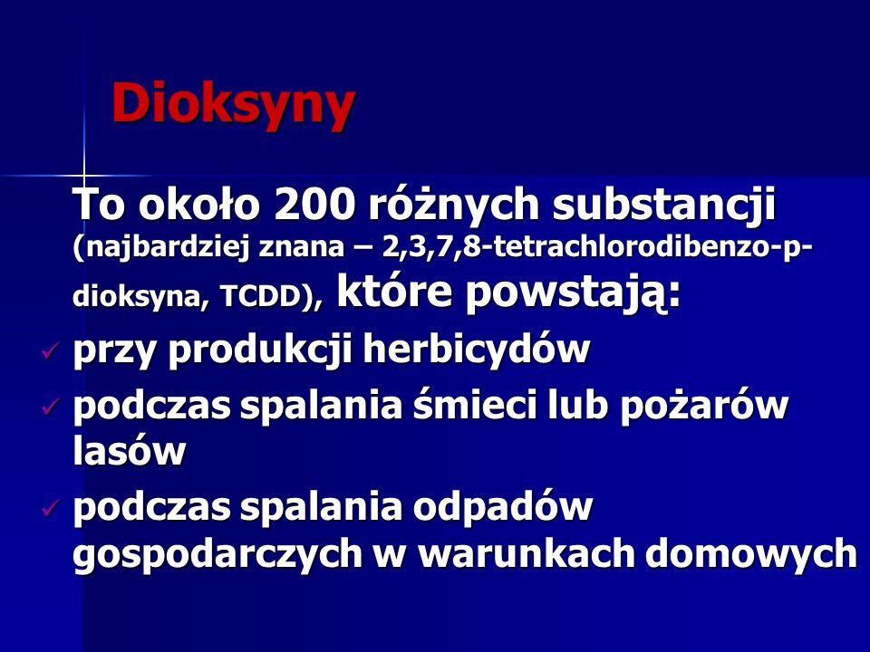 Dioksyny To około 200 różnych substancji (najbardziej znana – 2,3,7,8-tetrachlorodibenzo-p-dioksyna, TCDD), które powstają: